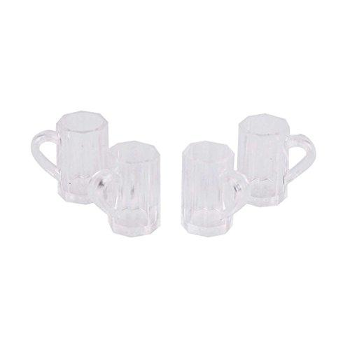 TOOGOO(R) Set 4 Stueck Puppenhaus Miniatur Kunststoff Bier Becher Tasse (Bier-tassen-set Von 4)