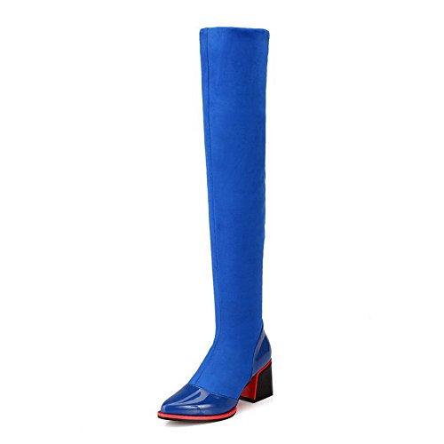 VogueZone009 Damen Blend-Materialien Schließen Zehe Hoch-Spitze Mittler Absatz Stiefel Blau-Spitze