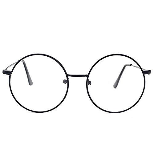 OuniaAAA Runder Rahmen Vintage Geschnitzte Myopie Flacher Spiegel College Brille für Frauen und Männer (Farbe : Schwarz) -