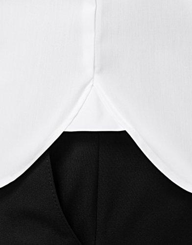 Vincenzo Boretti Herren Hemd Slim Fit Tailliert Umschlagmanschette Uni Bügelfrei Weiß