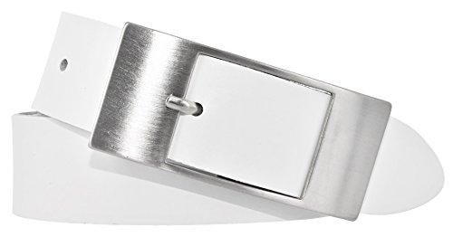 Mytem-Gear Damen Leder Gürtel 35 mm Nappaleder Damengürtel (105 cm, Weiß)