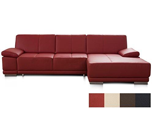 CAVADORE Ecksofa Corianne / Ledercouch in modernem Design / Inkl. beidseitiger Armteilverstellung und Longchair rechts / 282 x 80 x 162 / Echtleder rot