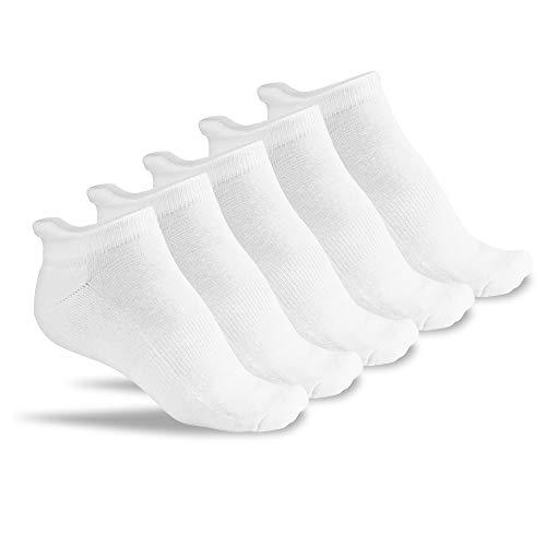 FLINK Herren & Damen Laufsocken 5 Paar (Weiß) Größe 39-42 I Hochwertige Sportsocken aus Baumwolle I atmungsaktive Running Socks mit gepolstertem Fußrücken -