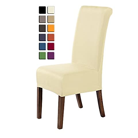 SCHEFFLER-HOME Marie Chaircovers 2 pieces, With lotus effect, Stainprotection, Water-repellent Stretch Chair Cover, Bi-elastic modern Slipcover, Decor Lycra fabric Protective Cover with elastic band, universal nosefitting by spandex, elastic Span-Cover, Possible seat height coverage 17-19 cm - Cream