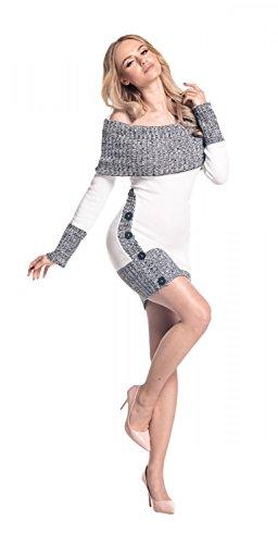 Glamour Empire Sexy Chaud Tricot Dames Pull Cavalier Robe Tunique Haut 913 Blanc