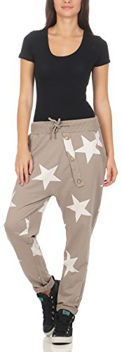 malito Damen Jogginghose mit Knopfleiste | Sporthose mit Sternen | Baggy zum Tanzen | Sweatpants