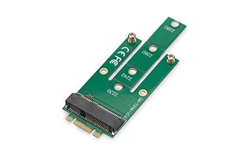 DIGITUS M.2 zu mSATA Adapter, NGFF(M.2) Key B, für 27mm und 50mm SSD Speicher, SATA III, 6 Gbit/s, Bootfähig