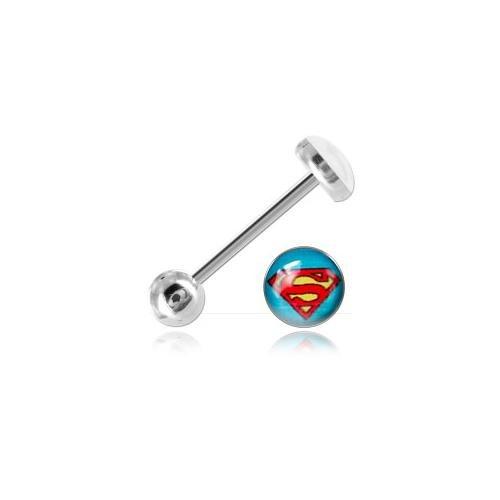 Barbell di lingua acciaio Logo Superman-A Cerchio/Asta 1.6mm, Tagliapiastrelle Int. 16mm, pallina 6-7mm