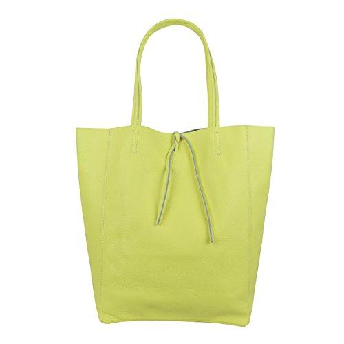 Freyday Damen Echtleder Shopper mit Innentasche in vielen Farben Schultertasche Henkeltasche Metallic look (Gelb)