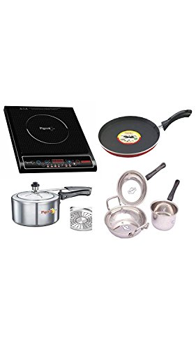 Pigeon Rapido Cute 1800-Watt Induction Cooktop Set, Black