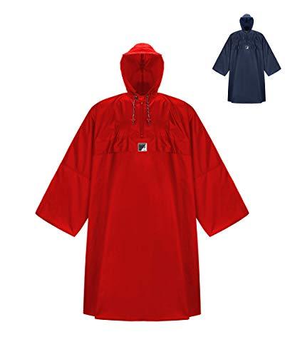 HOCK Wander Regenponcho \'Wetter AS Klima\' mit Langen Ärmeln - Der Atmungsaktive Outdoor Poncho für Damen und Herren - Regencape mit weitem Schnitt für\'s Wandern mit Rucksack - Rot - L