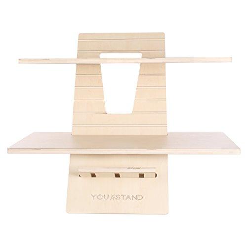 You-Stand XL: der Standard für Das Arbeiten im Stehen! Ergonomische, höhenverstellbare, Steh Schreibtisch,Steh-Sitz Workstation, Laptoptisch (FSC geprüft)