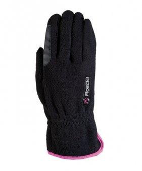 Roeckl Sports Junior Winter Handschuh Kairi, Kinder Reithandschuh, Schwarz/Pink, 4