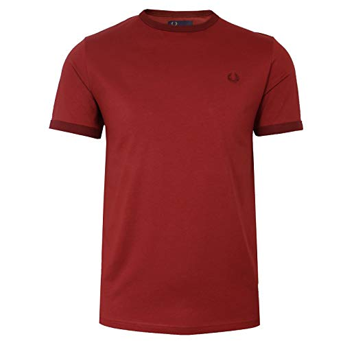 Fred Perry Herren Ringer T-Shirt m3519 a25 Rot S -