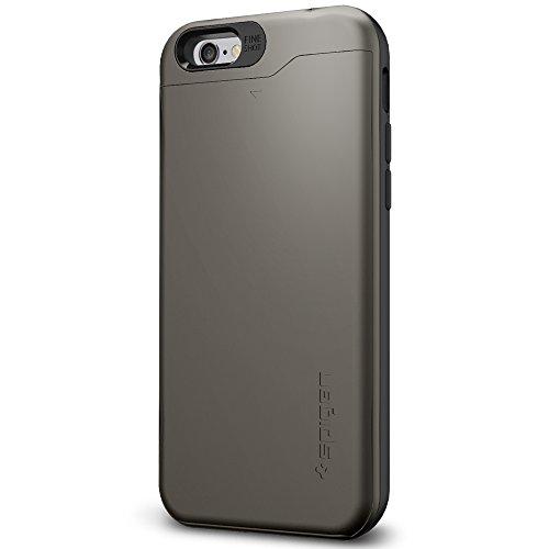 Spigen Coque iPhone 6 [Porte-Cartes] Coque portefeuille pour iPhone 6 [Slim Armor CS] [Shimmery White] Coque double couche en TPU et Polycarbonate avec porte-cartes pour iPhone 6 (2014) - SACS Shimmer Gunmetal