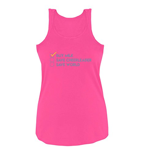 Comedy Shirts - Buy milk, save cheerleader, save world - Heros - Damen Tank Top - Pink / Violett-Gelb Gr. (Barbie Cheerleader Outfit)