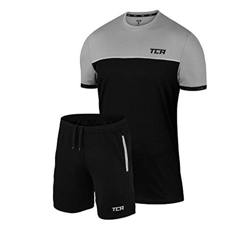 TCA Aeron - Herren/Jungen Set aus Trainingsshirt & Trainingsshorts - Atmungsaktiv - Schwarz/Cool Grey (Grau) - 140 (8 bis 10 Jahre)