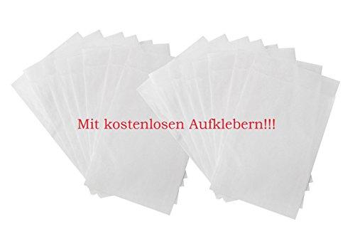 50 kleine Papiertüte WEISS Mini-Tüte Papier-Flachbeutel PERGAMIN 9,5 x 13 + 2 cm Lasche leicht durchsichtig für Gastgeschenke Mitgebsel give-aways Freundentränen Verpackung