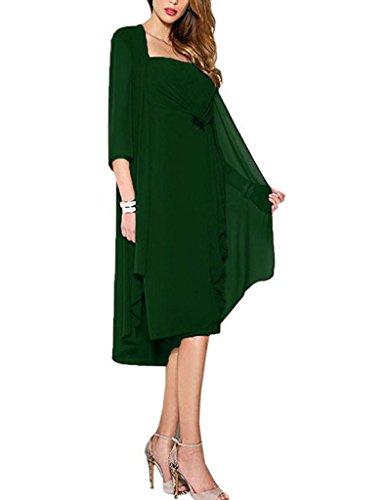 HUINI Perline Chiffon Madre Della Sposa Abiti da Sposa Abiti Convenzionali ed un Rivestimento Verde scuro