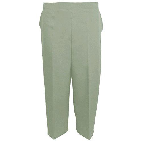 Myshoestore Pantacourt 3/4 pour femme Taille semi-élastique Vert - Vert sauge