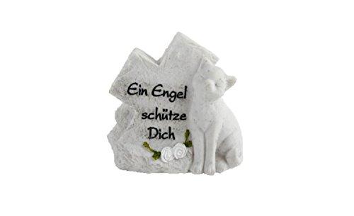 MT Grabstein Katze Tiergrabstein mit Spruch Polyresin GedenksteinEin Engel schütze dich