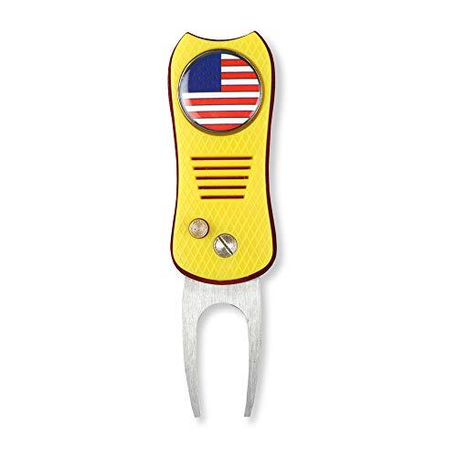HAIYUE faltbares Golfgrube Reparatur-Werkzeug I Love USA, Bald Eagle, USA Flagge, Freiheitsstatue Muster, amerikanischer Patriotismus, magnetischer Ballmarker (Mehrfarbig/Fischform), Unisex, gelb -