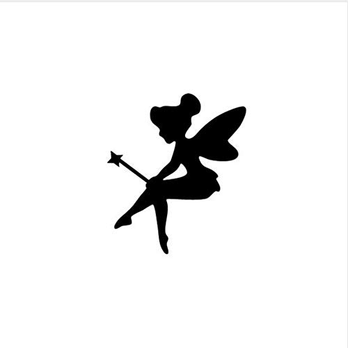 FREE shipping mini Fairy vinyl Decal,Tinker Bell Silhouette wall Sticker,Pixie Nursery diy Art for Kids Room decor 12x10cm (Silhouette Tinker Bell)