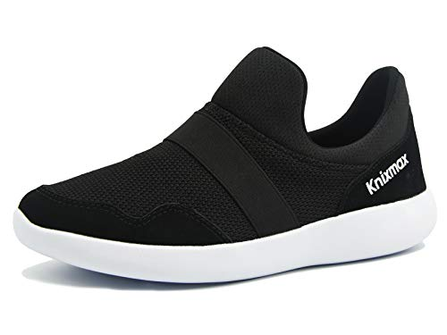 Knixmax Damen Sportschuhe Slip on Sneaker Gym Fitness Turnschuhe Ultra-Leicht Bequem Walkingschuhe Schwarz 37 EU