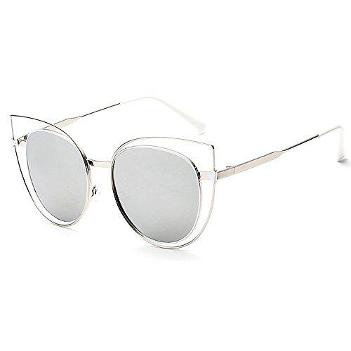 GWF Persönlichkeit Katzenaugen für Frauen Sonnenbrillen Damenbrillen UV-Schutz Metallrahmen umrandeten Klassische Trendy Lady Sonnenbrillen (Farbe : Silber)