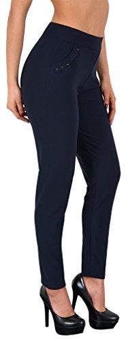 by-tex Damen High Waist Treggings Stretch Damen High Waisted Hose bis Übergröße 4XL/5XL #H275 H279-marineblau