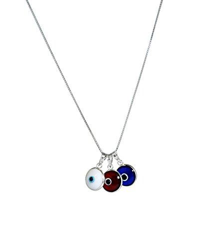 ALL DREI - Evil Eye Protection Halskette mit drei bösen Augen Charms, rot, weiß und blau in 925 Sterling Silber - 19-Zoll-Box Kette mit Feder Ring Verschluss für Männer und Frauen