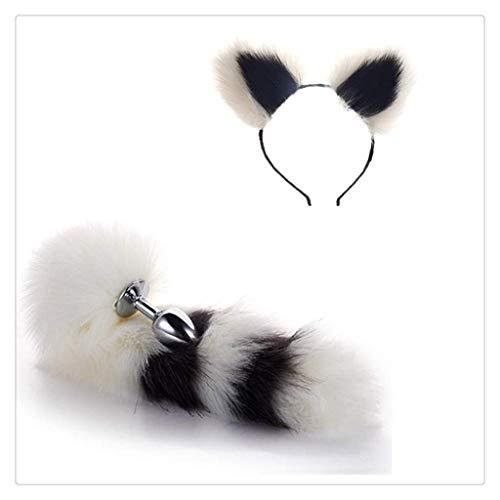 Faux Tail Fox Kostüm - WM-EILIAN Katze Cosplay Ohr Stirnband Ohr (Black & White) Fox Metal Tail Kostüm Cosplay