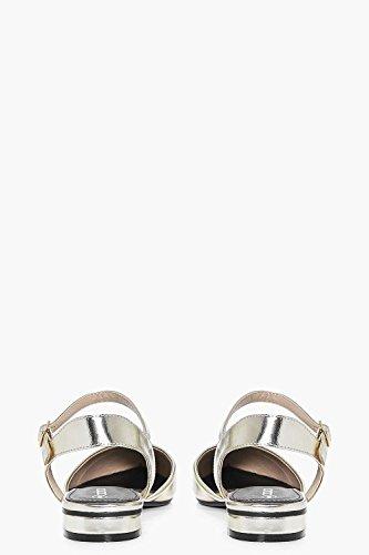 Damen Gold Abbie Zweiteilige, Flache Schuhe Mit Spitzer Zehenpartie Und Offener Ferse Gold