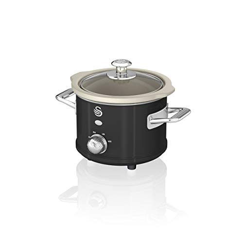 Swan SF17011BN 1.5 Litre Retro Slow Cooker with Removable Ceramic Pot, 3 Heat Settings - Includes Recipe Book, 120w