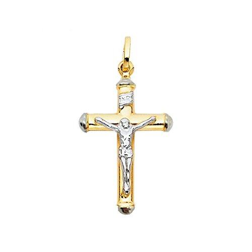 18 Karat 750 Gold Großen Gelbgold Weißgold Bicolor Kreuz Anhänger Mit Jesus 35 x 26 mm Unisex