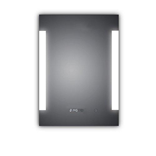 HOKO® Badspiegel LED beleuchtet mit integrierter Digital Uhr, Dortmund 60x80 A+, IP44 (WEEE-Reg. Nr.: DE 40647673)