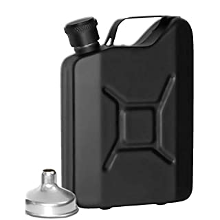 Outdoor Saxx® - Stainless Steel Hip Flask Sprit Petrol Can Look Pocket Bottle Drinking Bottle for Whiskey Schnapps in Gift Box 150 ml Black