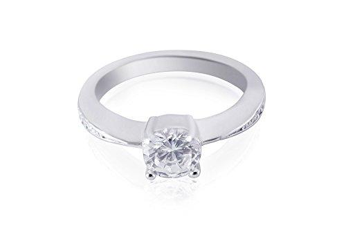 FINERING 925 Sterling-Silber  Silber Brilliant Rund   Hochfeines Weiß/River (E) Oxyde de Zirconium (Ring Weiß Stein)