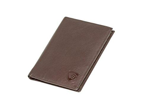 Koruma-Portafoglio in vera pelle da viaggio per passaporto biometrico, carte di credito, porta documenti, Nero (marrone),