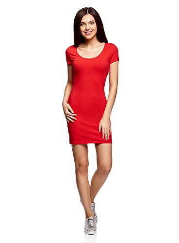 oodji Ultra Damen Enges Jersey-Kleid, Rot, DE 42 / EU 44 / XL