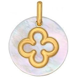 Premier Carat Médaille de baptême nacre et croix romane en or 18 carats