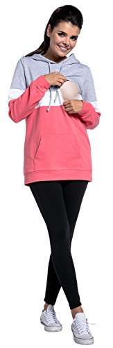 Zeta Ville - Still-Sweatshirt Farbblock Kapuze Top Kängurutaschen - Damen - 503c Lichtgrau Melange & Weiß & Koralle