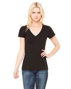 Bella Damen Jersey Deep V-Neck T-Shirt Gr. Small, Schwarz - Schwarz -