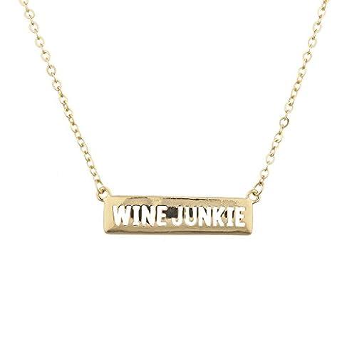LUX Zubehör goldfarbenes Wein Junkie Alkohol trinken Verbiage Namensschild Halskette