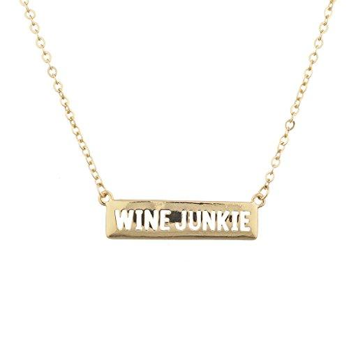 LUX Zubehör goldfarbenes Wein Junkie Alkohol trinken Verbiage Namensschild Halskette Wein Buchstaben
