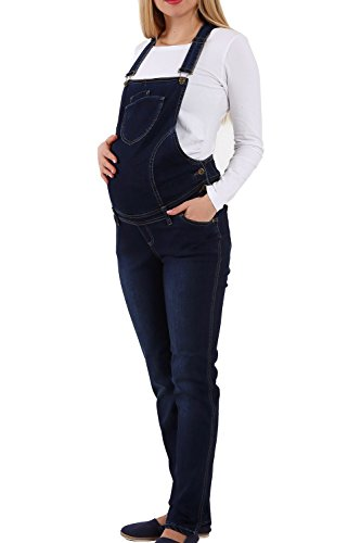 Jeans Schwangerschaftslatzhose | Latzhose | Umstandsmode | Maternity dungarees | Overall Salopette | Umstandslatzhose der Marke M.M.C. (Dunkelblau,...