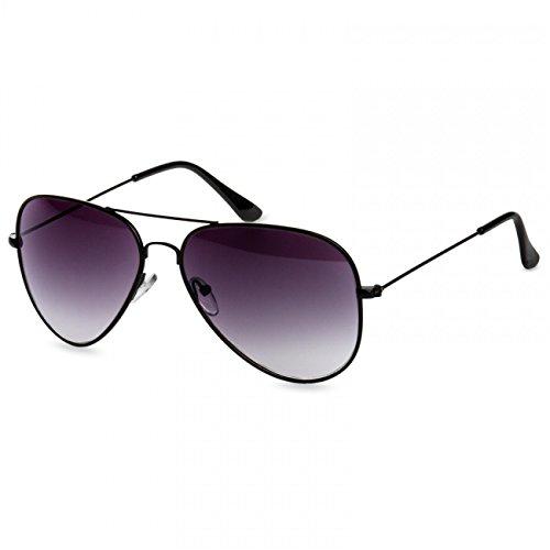 Caspar SG033 Damen Large Metal RETRO Fliegerbrille Sonnenbrille, Farbe:schwarz/schwarz getönt