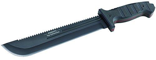 HERBERTZ Top-Collection Survival-Messer, Stahl 440, G-10 Griff, rostfrei, beschichtet, Sägerücken, Nylonscheide (Schwarz Nylon-scheide Griff)