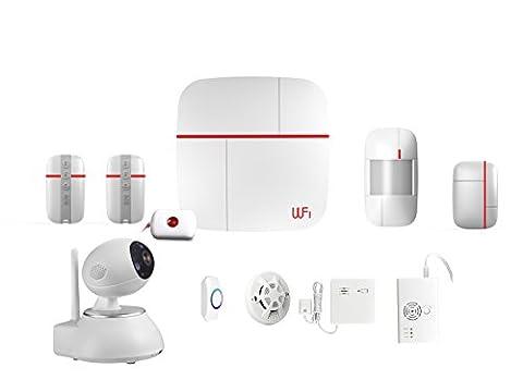 SZABTO Système d'alarme sans fil GSM et WLAN avec caméra de surveillance, détecteur de fumée, détecteur de gaz, détecteur de fuite d'eau, bouton de panique SOS pour personnes âgées, détecteur de mouvement et capteur de porte pour la sécurité à domicile