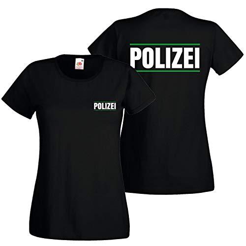 Shirt-Panda Damen Polizei T-Shirt Druck mit Streifen Brust & Rücken Schwarz (Druck Weiß) M